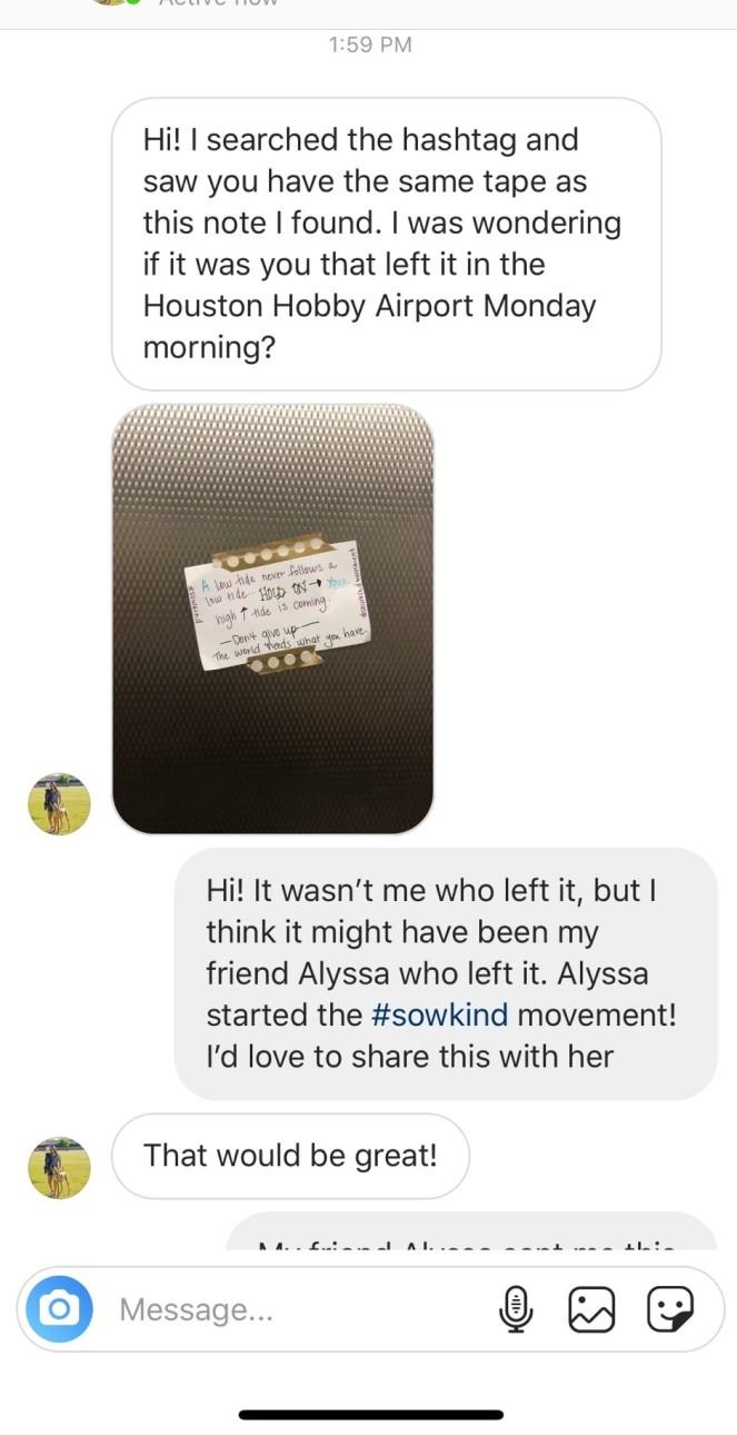 Instagram Message from Krista